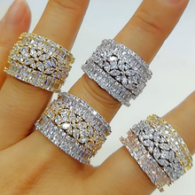 GODKI Luxury 3 Rows Stackable Wedding Rings for Women Bridal Engagement Wedding Jewelry Cubic Zirconia CZ Accessories Rings helon cubic zirconia cz solid 10k yellow gold pave prongs setting wedding ring engagement rings for women
