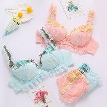 Nhật Bản mới ren ngọt ngào dây đeo vai Loli Gió Áo ngực thêu nơ bé gái Nữ Thần Bộ áo ngực 360