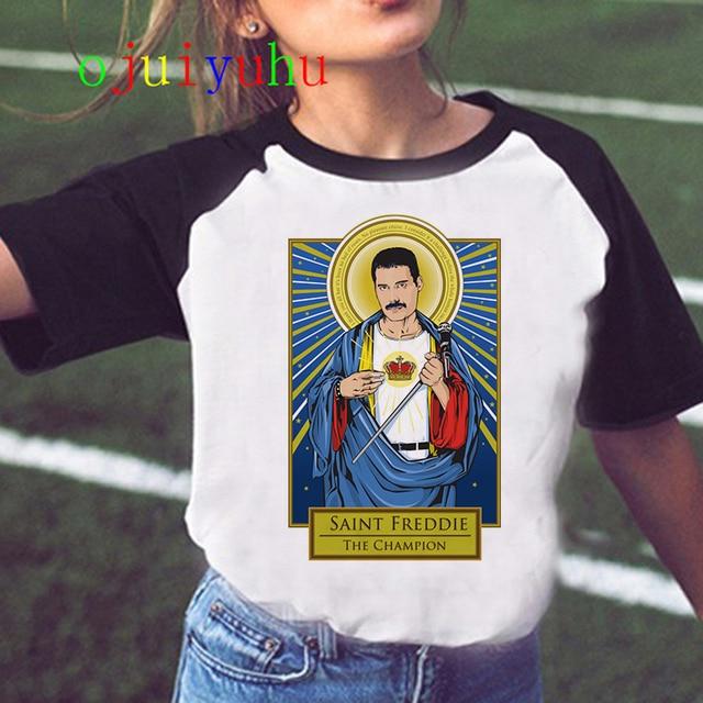Freddie Mercury Queen Band T Shirt Women Harajuku Vintage Ullzang T-shirt Fashion Queen Tshirt 90s Graphic Rock Top Tees Female 1