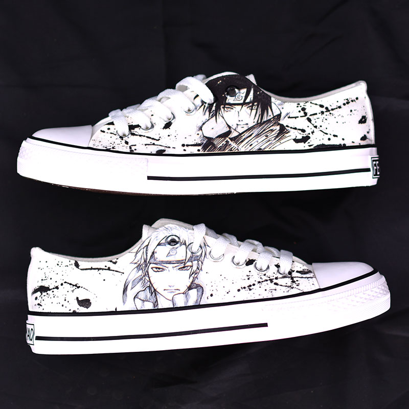 Anime Naruto Kakashi Hand Painted Canvas Shoes Unisex High Top Sneakers Cosplay