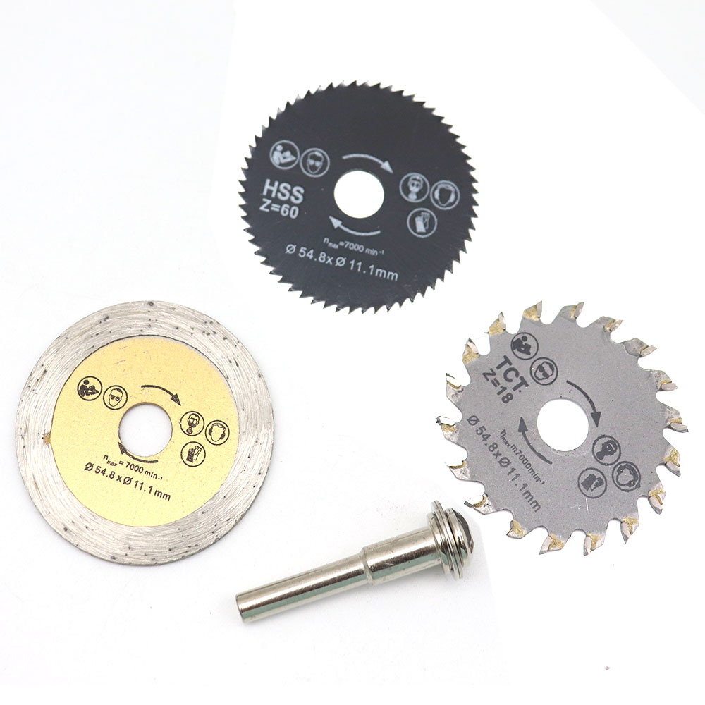 3PC Combination Set Woodworking Saw Blade 54.8mm High Speed Steel Saw Blade Mini Slice Saw Blade 30T 60T