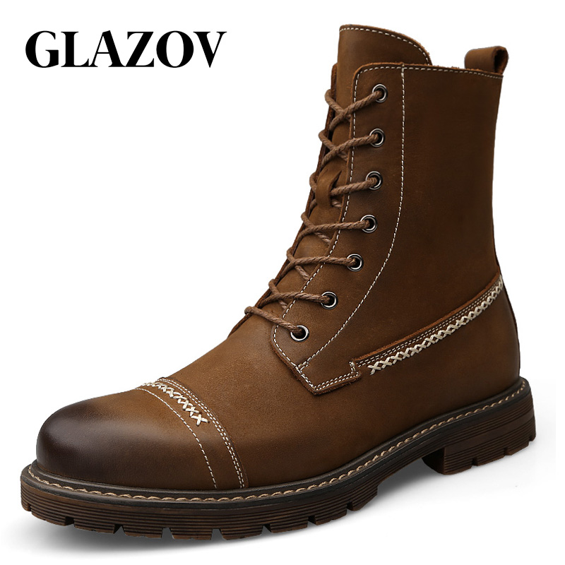 Brand Genuine Leather Men Waterproof Boots Men Casual Shoes Fashion Ankle Boots For Men High Top Winter Men Boots Inside Fluff