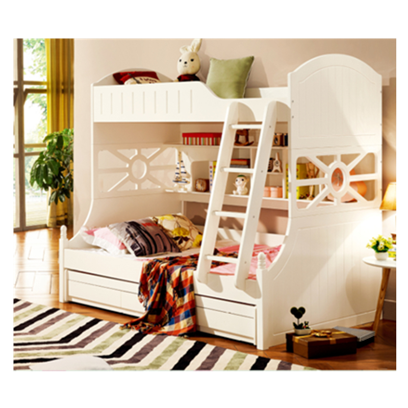 US $1090.0 |White children bedroom furniture kids double deck bunk bed-in  Bedroom Sets from Furniture on AliExpress