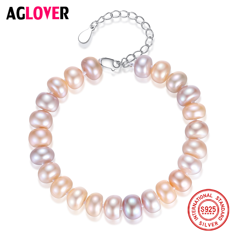 AGLOVER Natural Freshwater Pearl Bracelets Bangles For Women 8-9MM Pearl Oval Mixed color 925 Silver Pearl-clasps Jewelry Gift