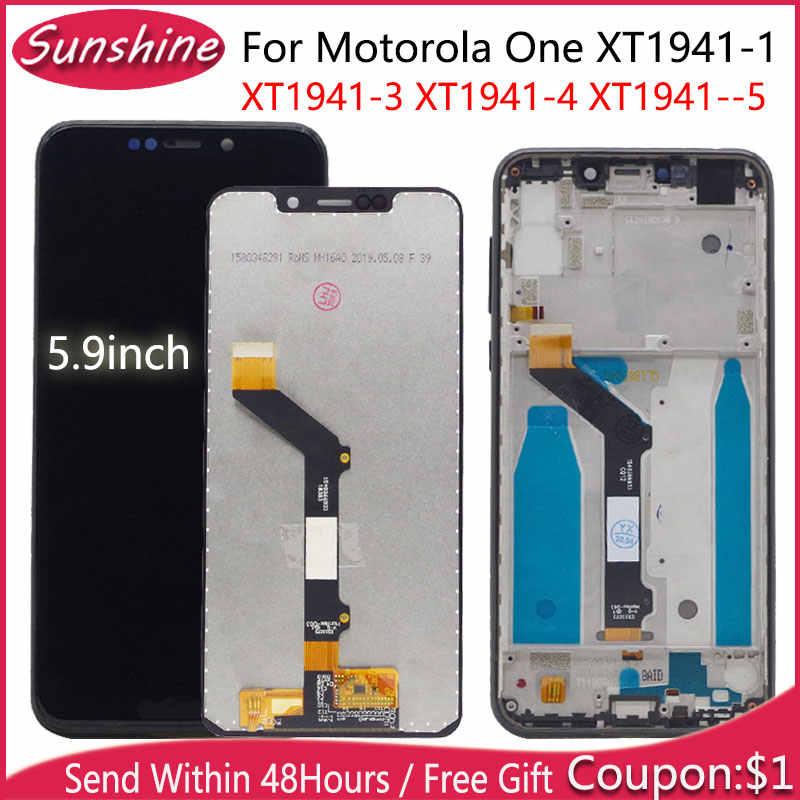 5.9 ''LCD Motorola bir ekran XT1941-1 XT1941-3 XT1941-4 LCD ekran dokunmatik ekran meclisi ile Motorola için bir arada çerçeve