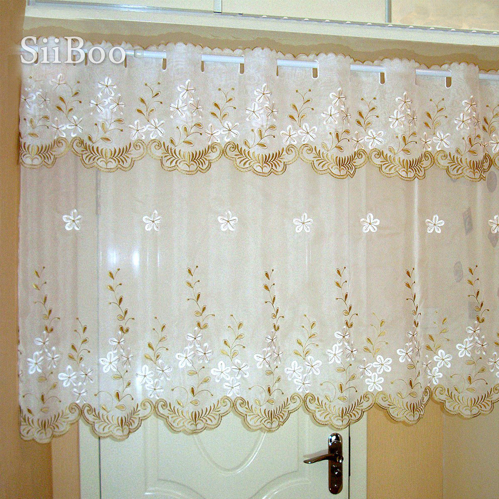 gardinen white floral embroidery half-curtain bay window curtain tulle for coffee kitchen room cortina pastoral SP3872 Free <font><b>Ship</b></font> image