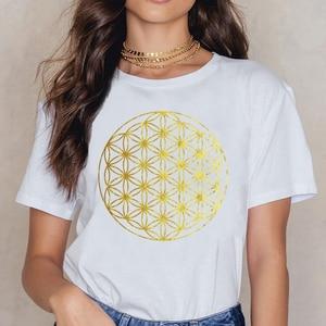 Женская свободная футболка с геометрическим узором, Летняя короткая рубашка в стиле Харадзюку с изображением цветов мандалы