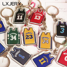 LXJERY Basketball Star Lebron James Jersey Keychain Acrylic Basketball Clothes Suit Key Chain Schoolbag Decorations Pendant(China)