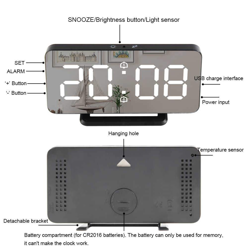 Gương Đồng Hồ Báo Thức Kỹ Thuật Số ĐÈN LED Điện Tử Nhiệt Độ Tường Bàn Báo Lại Đồng Hồ USB Đa Chức Năng Nightlight Nhà Văn Phòng