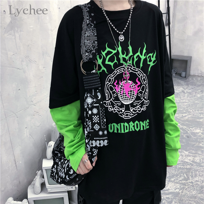 Lychee Harajuku Flame Letter Print Patchwork Women T Shirt Autumn Fake 2 Pieces Women T-shirts Fluorescent Green Lady T-shirt