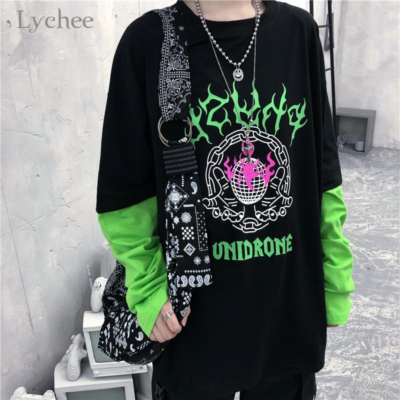 Женская футболка в стиле пэчворк Lychee Harajuku, 2 предмета, флуоресцентные зеленые футболки