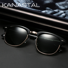 Semi Rimless Polarized Sunglasses Men Women Retro Brand Desi
