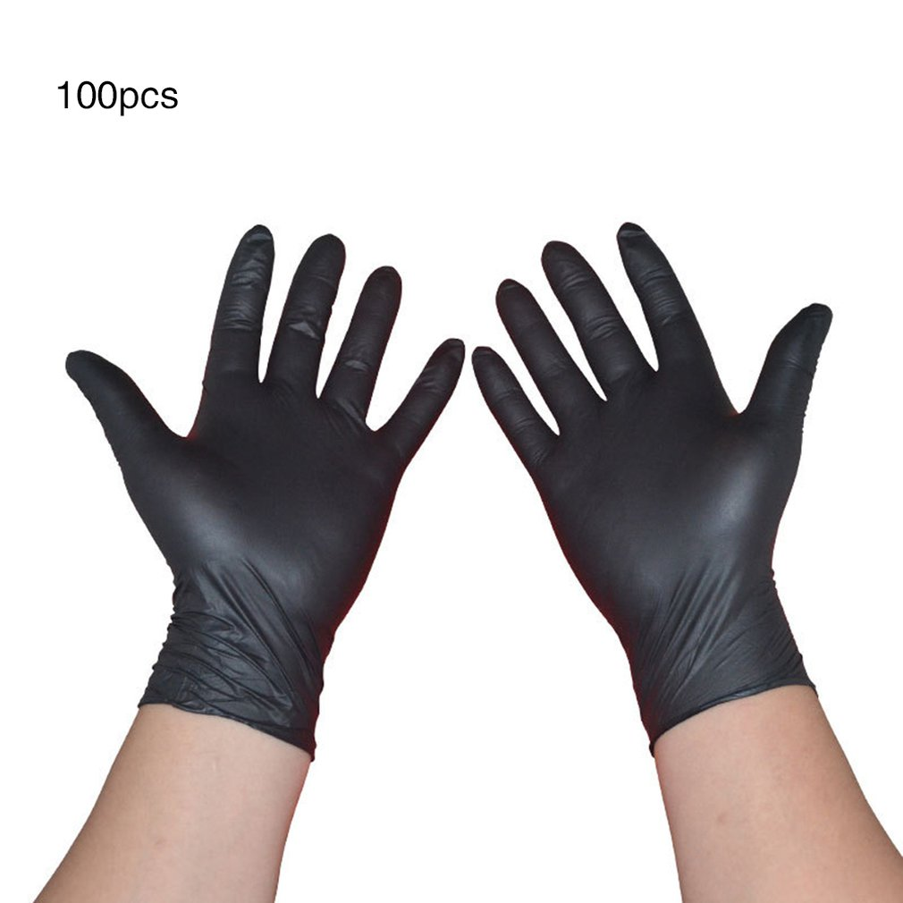 100PCS Boxed Black Nitrile Disposable Gloves Rubber Latex Food Household Cleaning Gloves Anti-static Gloves M Size