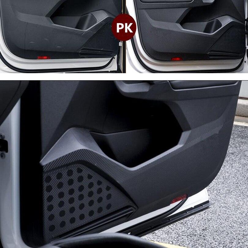 cheapest For Volkswagen VW Tiguan L 2017 2018 Carbon Fiber Style Car Door Anti-Kick Pad Protective Film Car Stickers 4Pcs