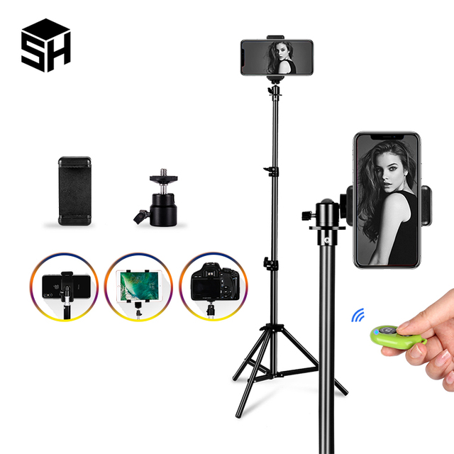 $ US $10.03 1/4 Screw Head Universal Portable Aluminum Stand Mount Digital Camera Tripod For Phone With Bluetooth Remote Control Selfie