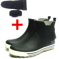 New Rainboots Men Rubber Galoshes Waterproof Gumboots Boot with Low Short Tube Fishing Boots and Reflective Bot In Night