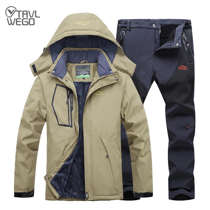 TRVLWEGO Winter Ski Suit Men Windproof Waterproof Snowboard Jacket And Pants Outdoor Super Warm 2 In 1 Thermal Fleece Snow Coat