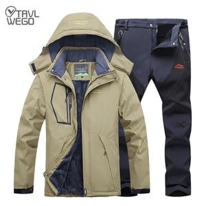 Image 1 - TRVLWEGO Winter Ski Suit Men Windproof Waterproof Snowboard Jacket and Pants Outdoor Super Warm 2 in 1 Thermal Fleece Snow Coat