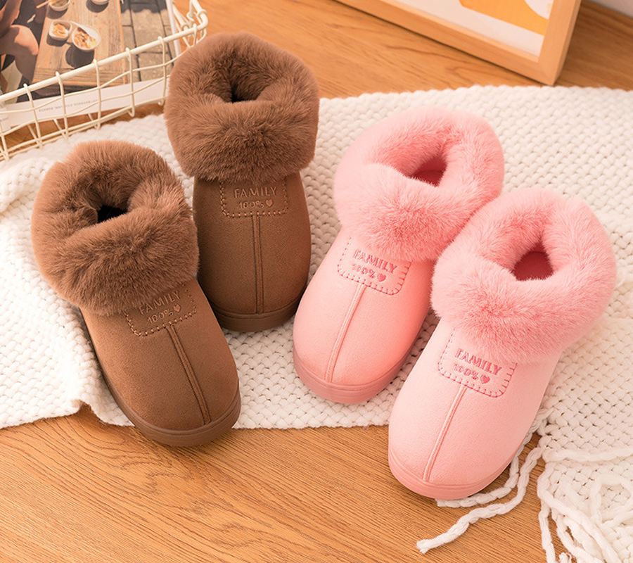 Covered Cotton Slippers Women Winter Indoor Plush Warm Thick Thick Bottom Non-slip Home Belt Heel Cotton Shoes Men Winter