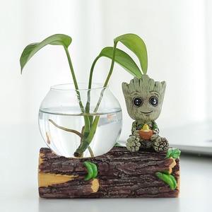 Creative Hand Crafts Groot Hydroponics Glass Vase Miniature Model Green Plant Holder Fairy Garden Decoration Desk Decor Ornament