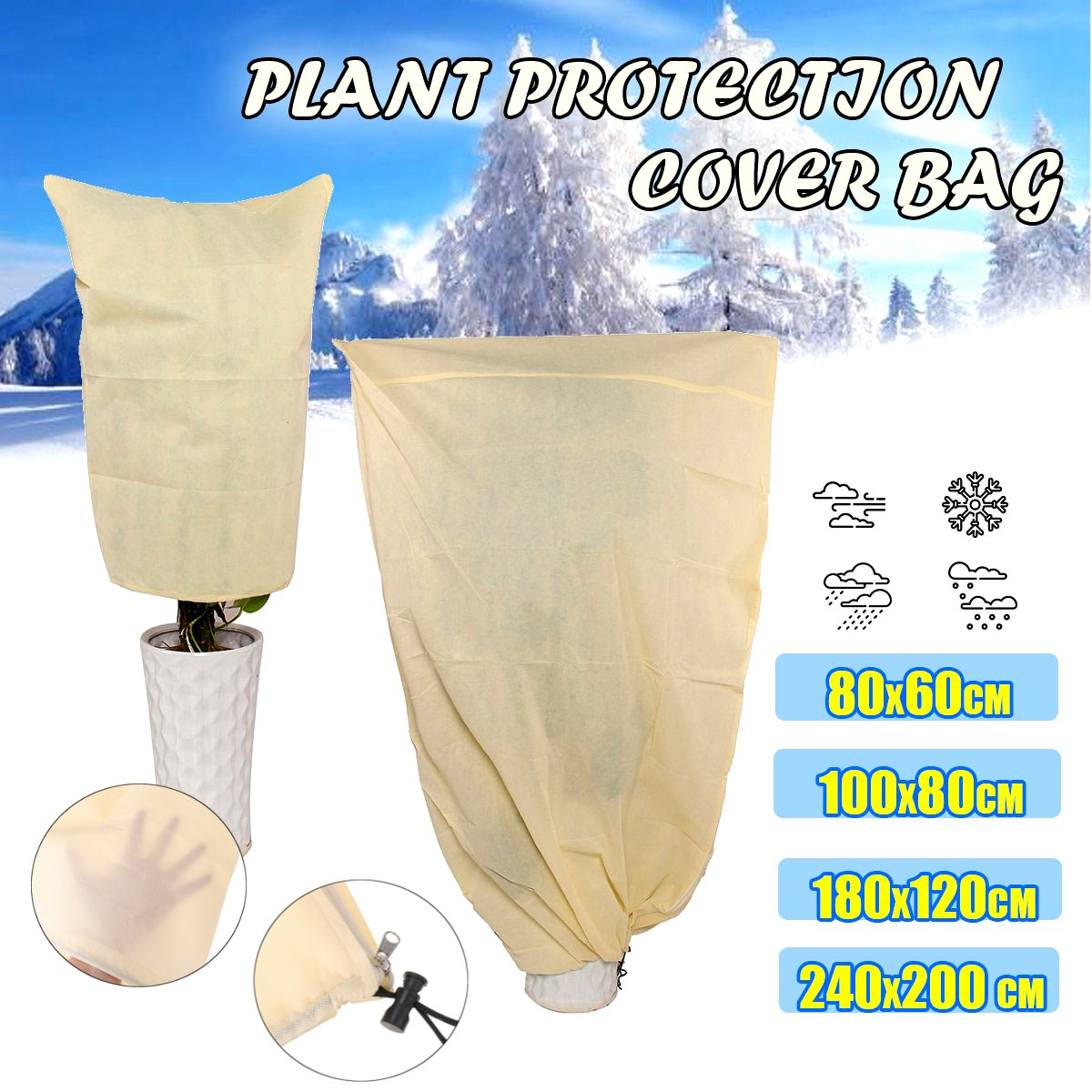 Outdoor Winter Garden Yard Shrub Potted Plant Anti Freeze Frost Protection Cover Bag Plant Cover Warm Cover Tree Shrub