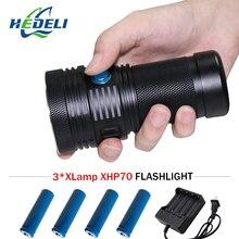 most powerful led flashlight 3XHP70 camping long range