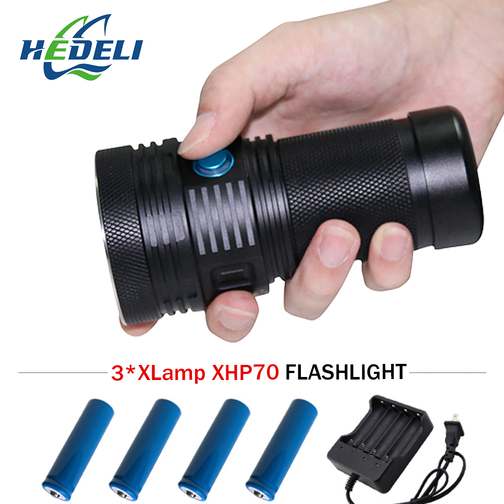 Most Powerful Led Flashlight 3XHP70 Camping Long Range Flashlight Lantern Spotlight XHP70 Torch Can Be Used For Up To 58 Days