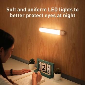 Trwała i urocza lampka do szafy LED z czujnikiem ruchu naściennego lampka nocna z ładowaniem przez USB magnes ścienny Light Drop Shipping tanie i dobre opinie KISS-THE NIGHT CN (pochodzenie) 20000 Under Cabinet Lights Suche baterii Przełącznik USB light 1 watt ABS + PC 800 mA