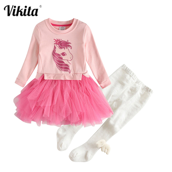 gusti children s sets 9512001 clothing for girls set dress winter clothes girl kids wear VIKITA Girls Clothing Sets for Autumn Winter Children Long Sleeve Princess Dress and Knitted Leggings Outfits Kids Clothes