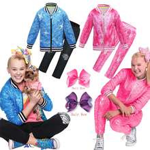 Lovely Girls Jojo Siwa Clothes Casual Tracksuit Children Zipper Jacket Pants 4Pcs/Sets Teen Girls Spring Sport Suit Clothing Set