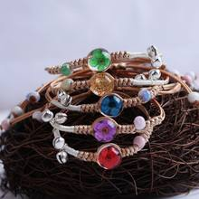 Simple Beautiful Glass Ball Dried Flowers Specimen Hand-woven Bracelet Fashion Sweet Girl Student Jewelry Accessories Adjustable(China)