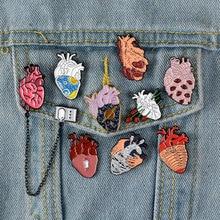 Heart-Brooch Shirt Jewelry-Accesorios Enamel-Pin Badge Collar Funny Love-Rose Cartoon