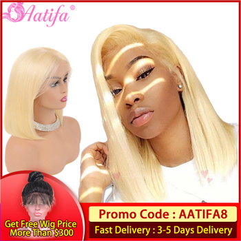 Short Bob Lace Front Human Hair Wigs Brazilian Straight Hair Wigs Pre Plucked Natural Hairline Remy Hair Pink grey 613 blonde