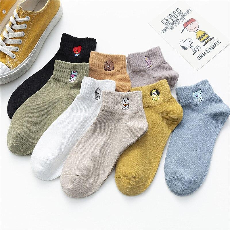 Cartoon animal print women socks kawaii cute meias divertidas  funny korean style woman calcetines skarpetki femme chaussettes