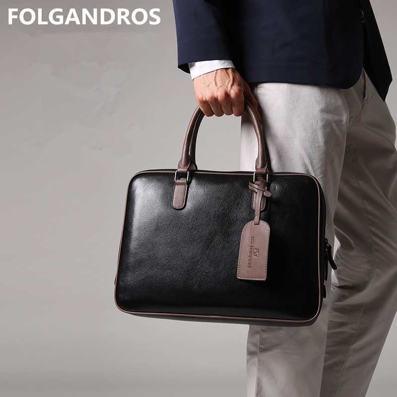 2019 Brand Designer Briefcases Genuine Leather Belgium Classic Business Briefcase Male 14 Inch Cowhide Document Computer Bags