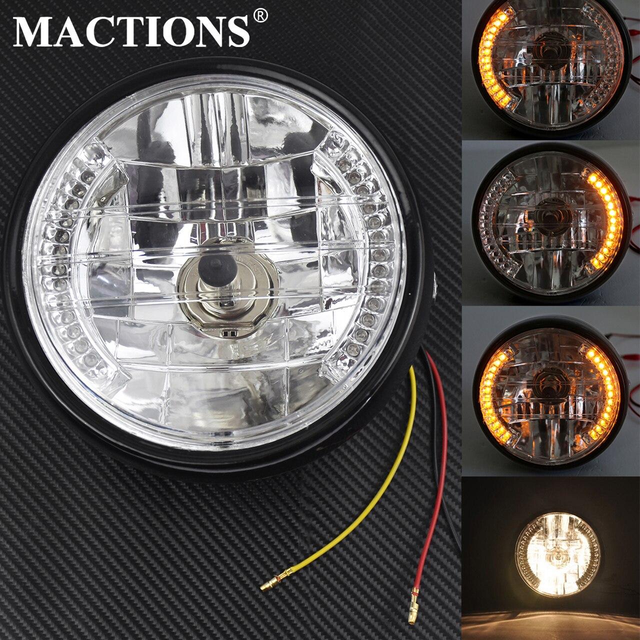 "8/"" Motorcycle Headlight Amber LED Turn Signal Indicators W// Head Light Bracket"