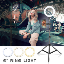 6 inch Dimmable Cold Warm LED Studio Camera Ring Light Photo Phone Video Light Lamp With Tripods Ring Table Fill Light For Canon