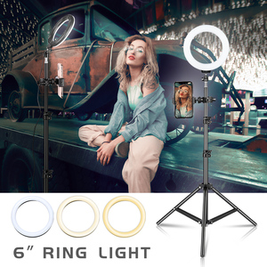 Image 1 - 6 inch Dimmable Cold Warm LED Studio Camera Ring Light Photo Phone Video Light Lamp With Tripods Ring Table Fill Light For Canon