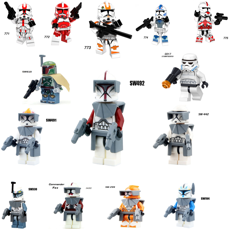Single Sale Star Wars Commander Wolffe Clone Trooper Mini Building Blocks Figure Bricks Toys Kids Gift Compatible Legoed Ninjaed