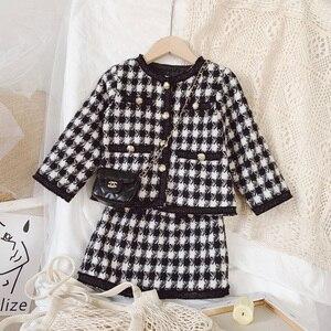 Image 2 - Новое поступление 2020, весна осень, модный костюм из двух предметов для девочек с рисунком «гусиные лапки», пальто + юбка, Детская твидовая юбка