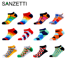 SANZETTI 12 Pairs/Lot Mens Casual Summer Ankle Socks Colorful Happy Funny Combed Cotton Short Wedding Party Dress
