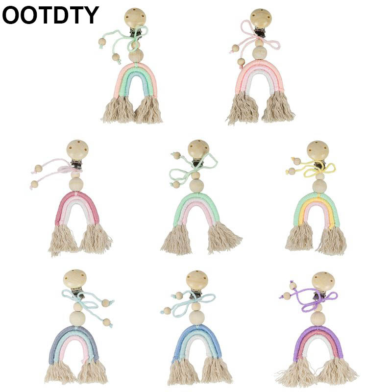 Baby Boho Rainbow Wooden Crochet Teether DIY Jewelry Making Pacifier Clip Pendant Stroller Toys