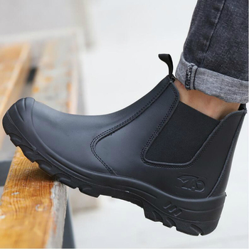 plus size men leisure steel toe covers work safety boots worker chelsea boot natural leather tooling shoes ankle security bota