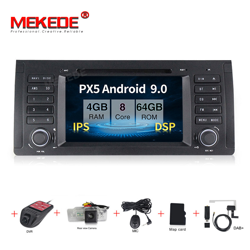 MEKEDE Android 9.0 7inch car dvd radio multimedia player For <font><b>BMW</b></font> X5 M5 <font><b>E39</b></font> E53 stereo video can bus steering wheel control+MAP image