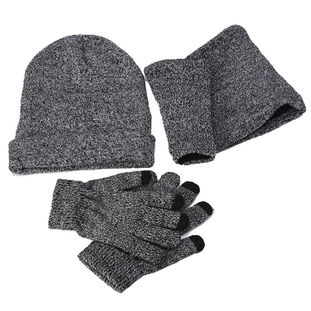 3Pcs Fashion Unisex Winter Fall Solid Color Cuffed Knitted Hat Gloves Scarf Set