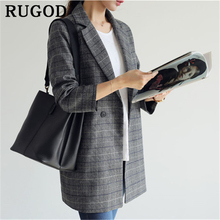 RUGOD korean plaid suit coat women Vintage double breasted Blazer Pockets Jackets Female Fashion office ladies blazers Outerwear