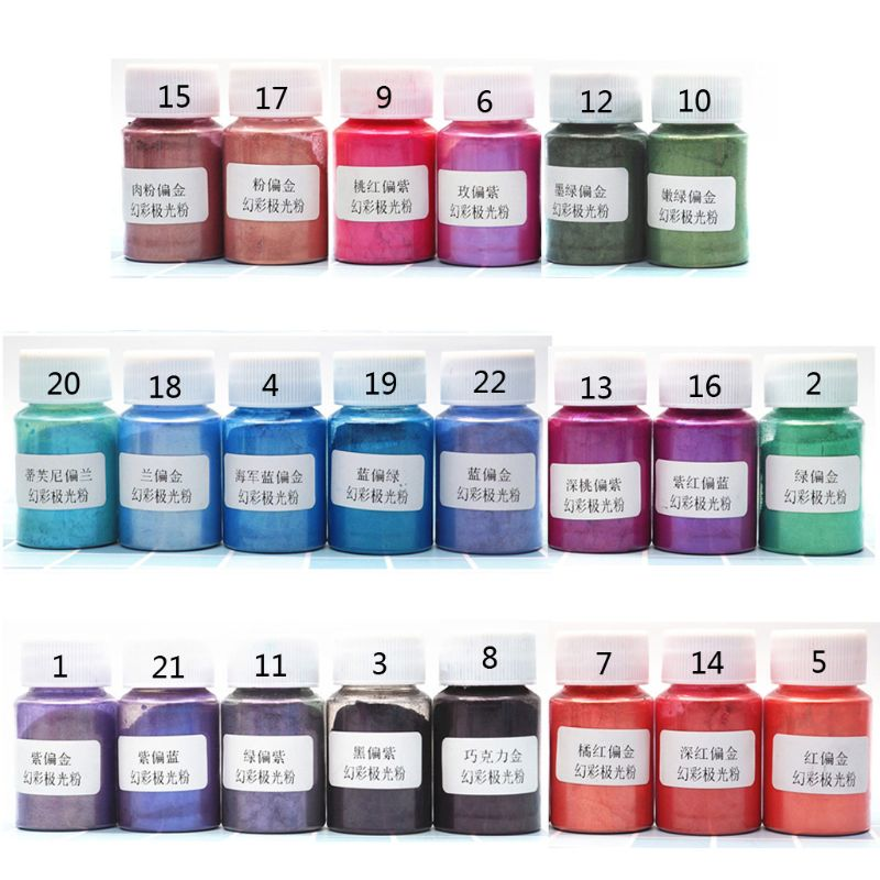 22 Colors/Set Aurora Pearl Pigment Powder Mica Pearlescent Colorants Resin Dye Jewelry Making
