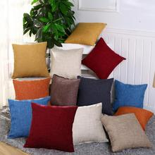 Square Linen Solid Color Soft Pillow Case Sofa Bed Cover Cushion Home Ornament