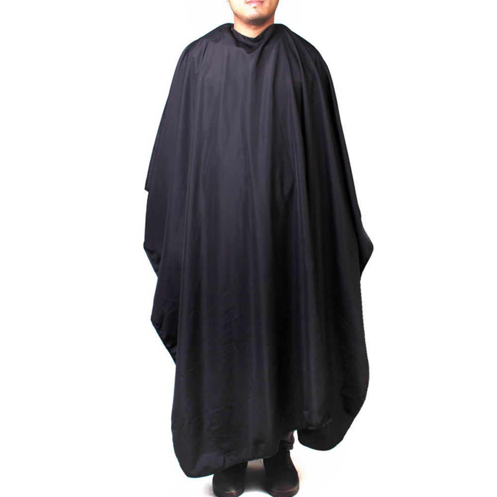 Iron Buckle Round Neck Hairdressing Cape Salon Barber Hair Cutting Gown Cover Large 140 x 120cm (Black)