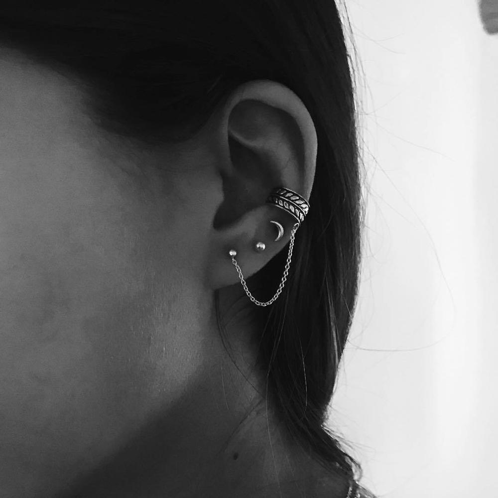 4pcs/set Women Fashion Vintage Boho Moon Earrings Leaves Ear Clip Popular Lady Jewelry Party Gift Oorbellen Ear Cuff Clips